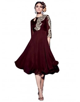 Party Wear Georgette Brown Kurti - 50005