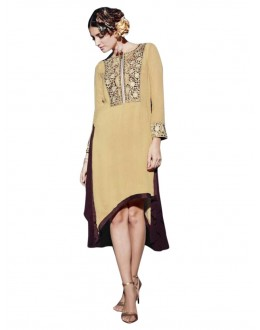Party Wear Georgette Cream Kurti - 50006
