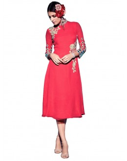 Party Wear Georgette Pink Kurti - 50003