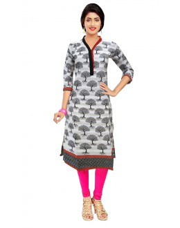 Office Wear Readymade White Cotton Kurti - 50128A