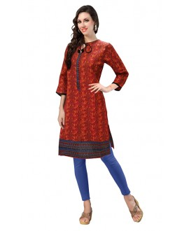 Casual Wear Readymade Red Cotton Kurti - 50132A