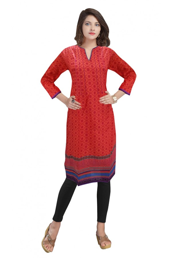Ethnic Wear Readymade Red Cotton Kurti - 50140B