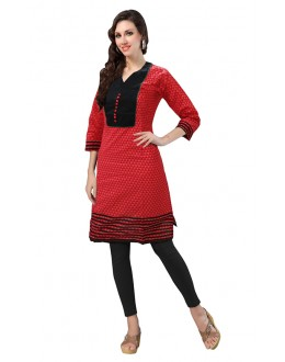 Ethnic Wear Readymade Red Cotton Kurti - 50143A