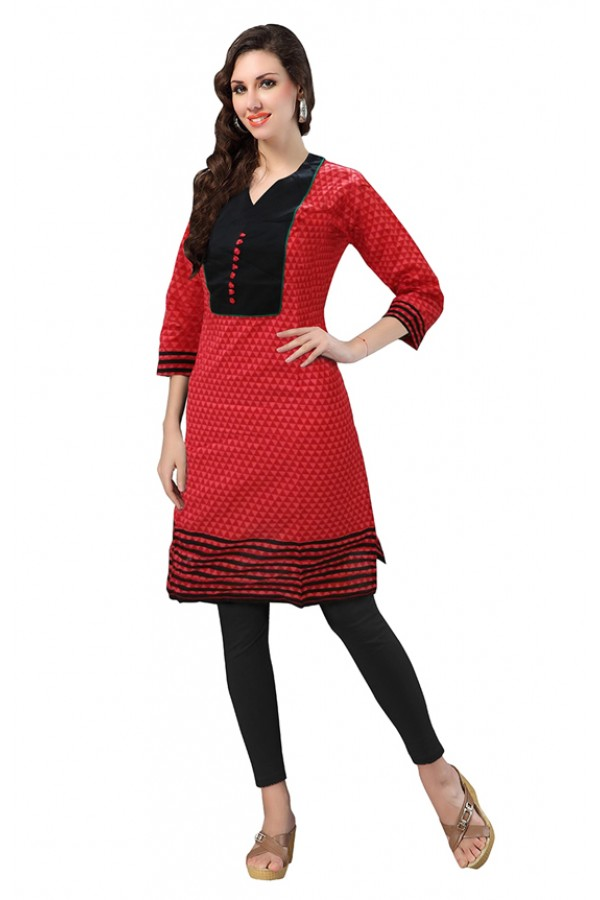 4cf2d11a6 Ethnic Wear Readymade Red Cotton Kurti - 50143A