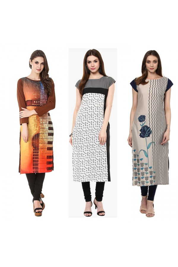 Office Wear Readymade Combo Pack Of 3 Kurti - 50-323-331-332