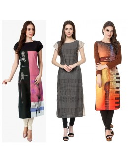 Office Wear Readymade Kurti Combo Pack Of 3 - 50-329A-333-323
