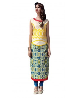 Traditional Wear Readymade Multi-Colour Taffeta Kurti - 50408