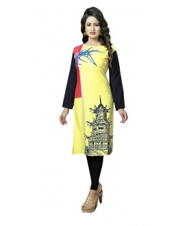 Party Wear Readymade Multi-Colour Crepe Kurti - 50442