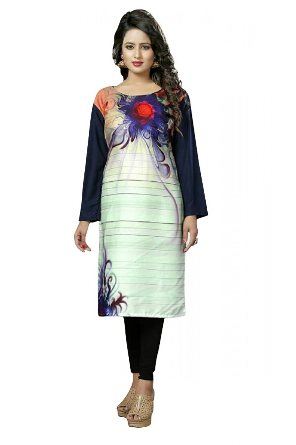 Wedding Wear Readymade Multi-Colour Crepe Kurti - 50443