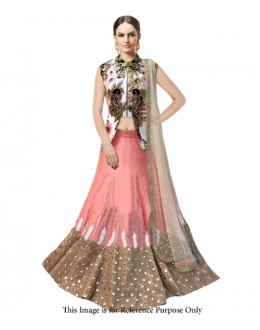 Bollywood Replica Peach Banglori Silk  Lehnega Choli - 60060