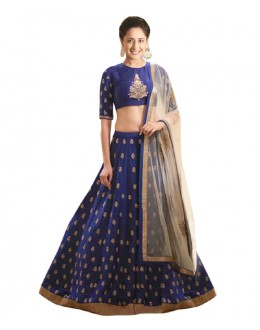 Bollywood Replica Blue Banglori Silk  Lehnega Choli - 60065