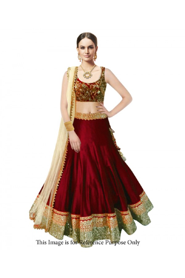 Bollywood Replica Maroon Banglori Silk  Lehnega Choli - 60066