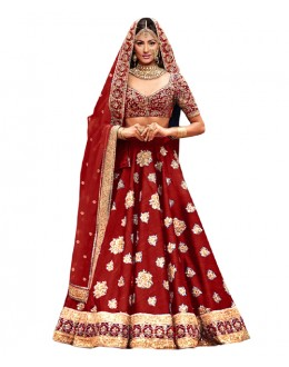 Bollywood Inspired Red Bhagalpuri Lehnega Choli - 60079