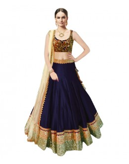 Bollywood Replica Blue Banglori Silk  Lehnega Choli - 60082