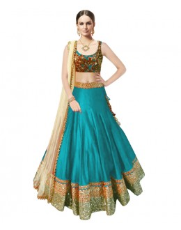 Bollywood Replica Sky Blue Banglori Silk  Lehnega Choli - 60083