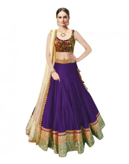 Bollywood Replica Purple Banglori Silk  Lehnega Choli - 60084
