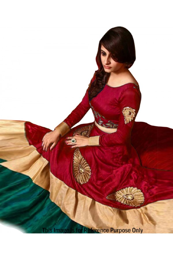 Bollywood Replica -  Fancy Red Banglori Silk Lehenga Choli - 60102