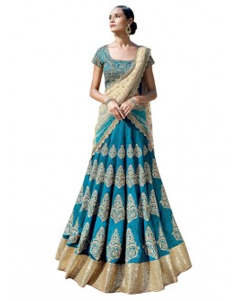 Bollywood Replica -  Wedding Wear Sky Blue Lehenga Choli - 60120