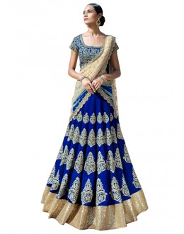 Bollywood Replica -  Designer Blue & Cream Lehenga Choli - 60122