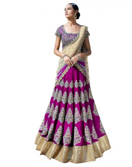 Bollywood Replica -  Bridal Wear Purple Lehenga Choli - 60124