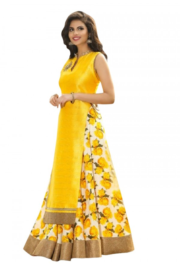 Bollywood Replica -  Ethnic Wear Yellow Indo Westrn Lehenga  - 60130F