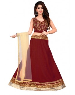 Wedding Wear Maroon Bhagalpuri Embroidred Lehenga Choli - 60066