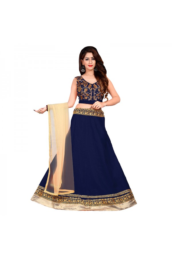 Party Wear Blue Bhagalpuri Embroidred Lehenga Choli - 60082