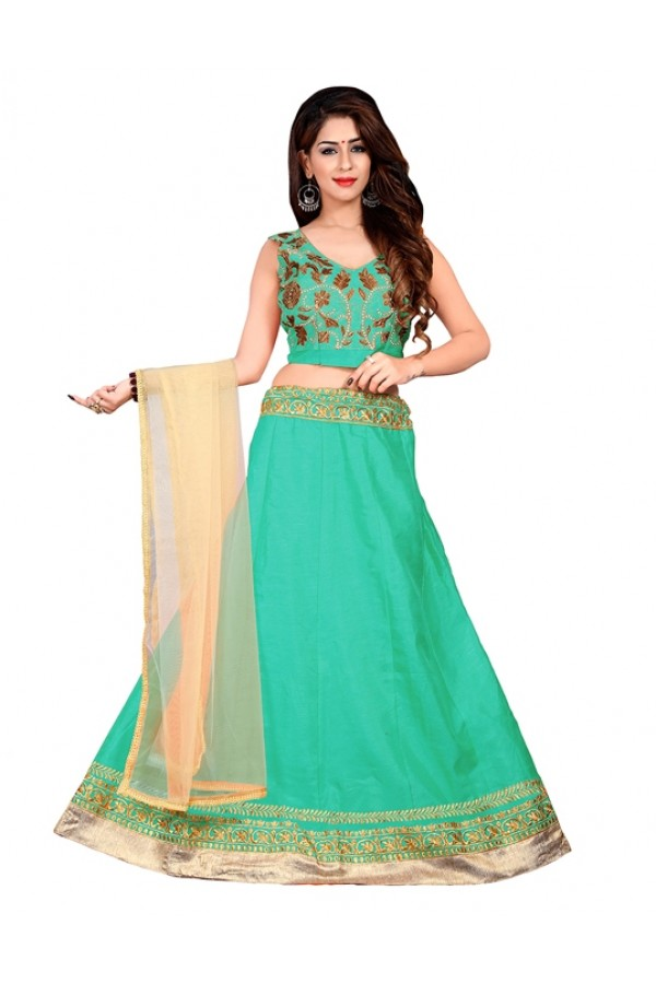 Festival Wear Green Bhagalpuri Embroidred Lehenga Choli - 60083