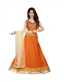 Traditional Wear Orange Bhagalpuri Embroidred Lehenga Choli - 60085