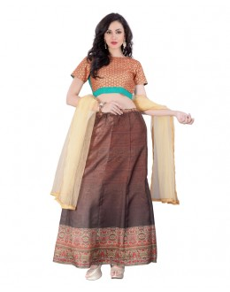 Party Wear Coffee Brown Banglori Silk Lehenga Choli - 60265