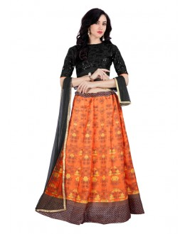 Traditional Orange Banglori Silk Lehenga Choli - 60266