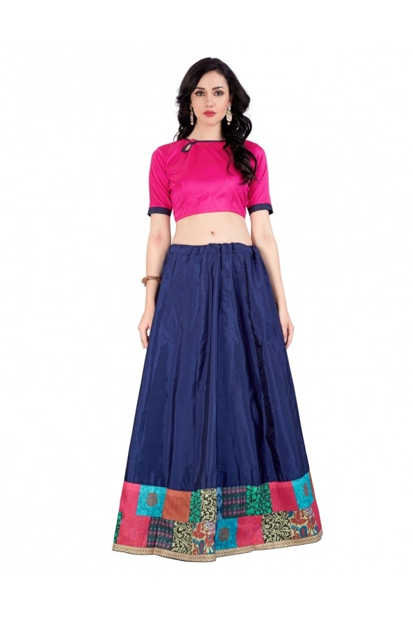 Party Wear Blue Taffeta Silk Crop Top Lehenga Choli - 60282