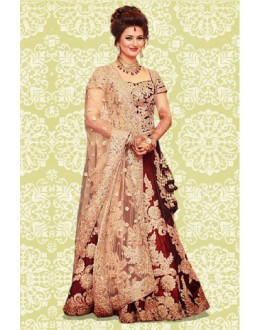 Bollywood Replica - Wedding Wear Maroon & Cream Lehenga Choli - 60159