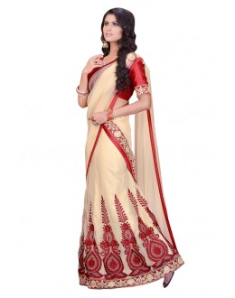 Wedding Wear Cream & Red Net Lehenga Saree - 60166