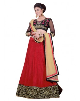 Festival Wear Red & Black Net Lehenga Choli - 60171