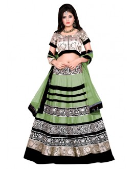 Wedding Wear Green & Gold Banglori Silk Lehenga Choli - 60173C