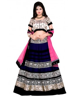 Ethnic Wear Blue & Gold Banglori Silk Lehenga Choli - 60173F