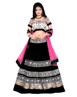 Ethnic Wear Black & Gold Banglori Silk Lehenga Choli - 60173G