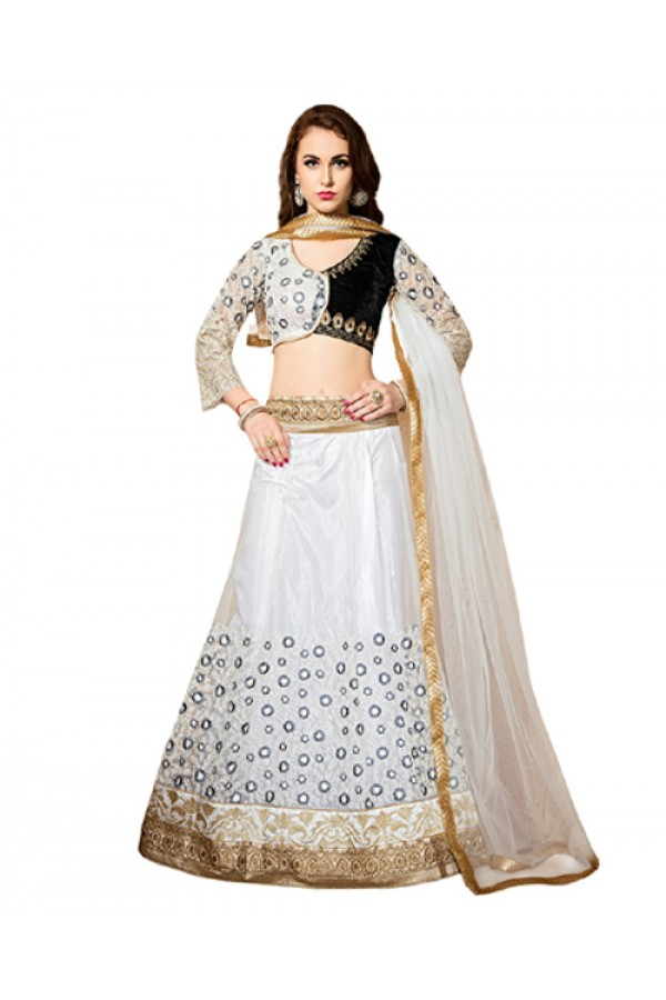 Bollywood Replica - Ethnic Wear White Velvet Lehenga Choli - 60175