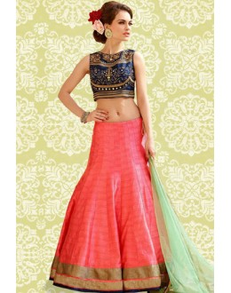 Ethnic Wear Peach & Blue Banglori Silk Lehenga Choli - 60191