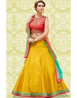 Festival Wear Yellow & Peach Banglori Silk Lehenga Choli - 60192