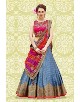 Party Wear Blue & Pink Banglori Silk Lehenga Choli - 60193