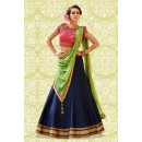 Traditional Blue & Green Banglori Silk Lehenga Choli - 60194