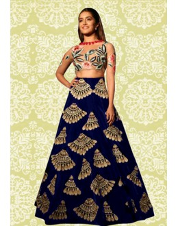 Bollywood Replica - Designer Navy Blue Lehenga Choli - 60196E
