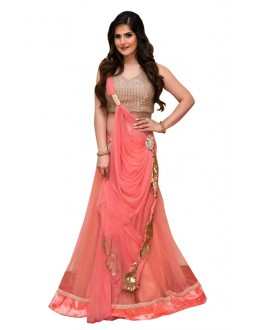 Bollywood Replica - Zareen Khan In Peach Lehenga Choli - 60222