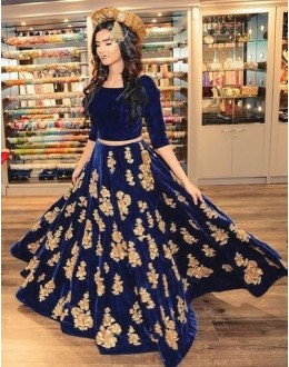 Bollywood Replica - Party Wear Naby Blue Lehenga Choli - 60223