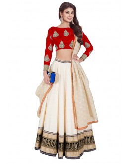 Bollywood Replica - Mouni Roy In White & Red Lehenga Choli - 60225A