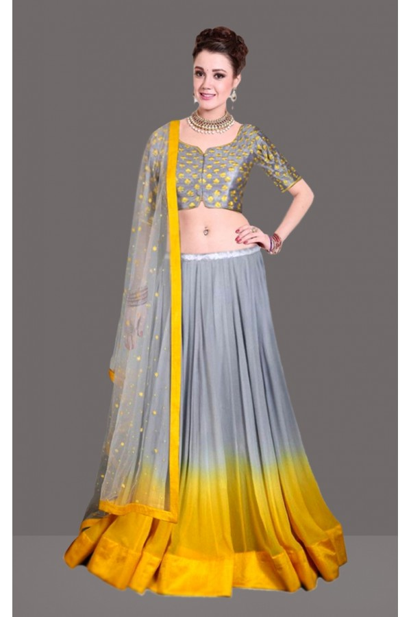 Bollywood Replica -  Traditional Grey & Yellow Lehenga Choli  - 60255
