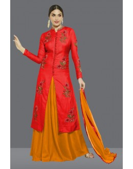 Ethnic Wear Yellow & Red Santoon Lehenga Suit  - 60272D
