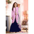 Party Wear Blue & Pink Bhagalpuri Lehenga Suit  - 60273C